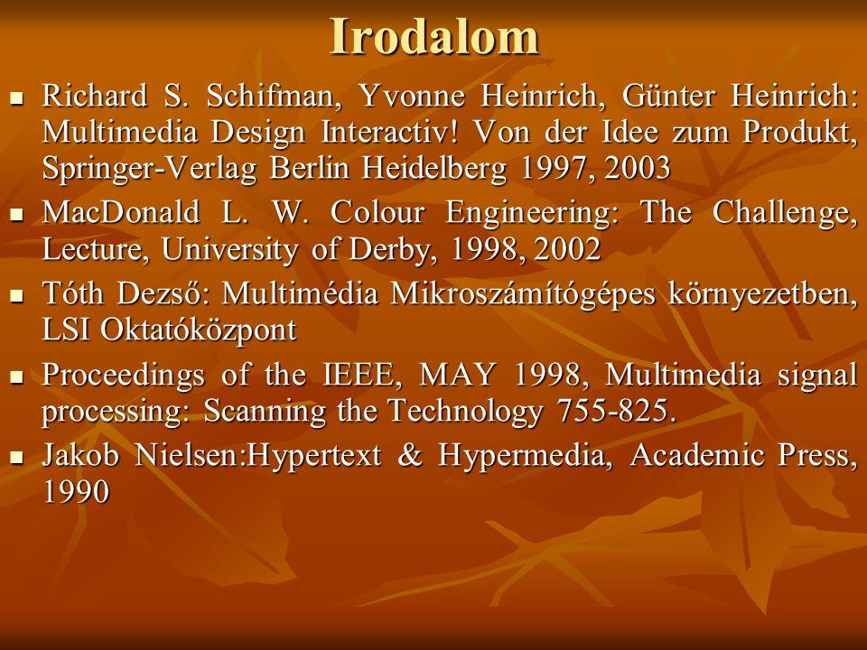 Irodalom Richard S. Schifman, Yvonne Heinrich, Günter Heinrich: Multimedia Design Interactiv.