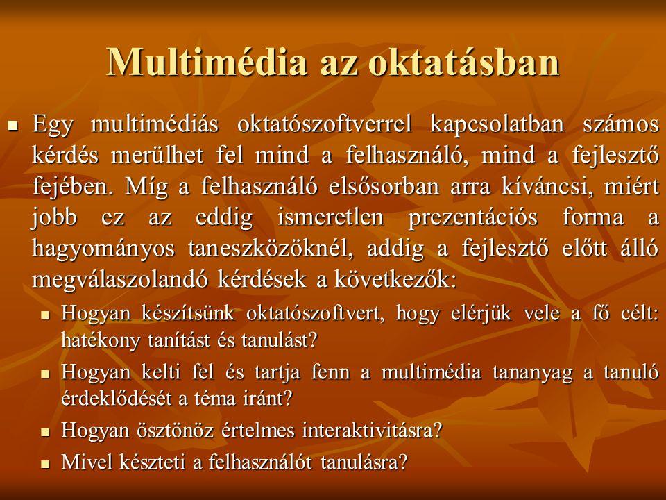 Multimédia az oktatásban A multimédiás oktatás előnyei A multimédiás oktatás előnyei Támogatja az egyéni tanulást.
