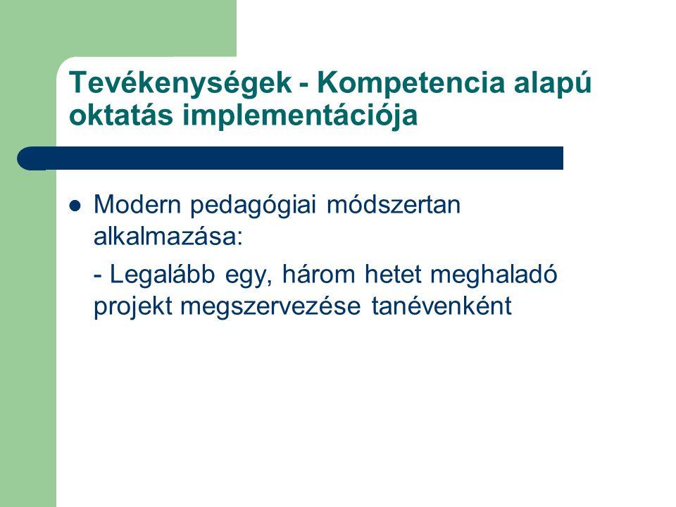 Tevékenységek - Kompetencia alapú oktatás implementációja Modern pedagógiai módszertan alkalmazása: - Legalább egy, három hetet meghaladó projekt megs