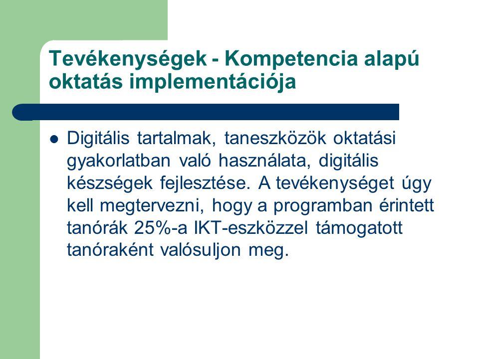 Tevékenységek - Kompetencia alapú oktatás implementációja Digitális tartalmak, taneszközök oktatási gyakorlatban való használata, digitális készségek