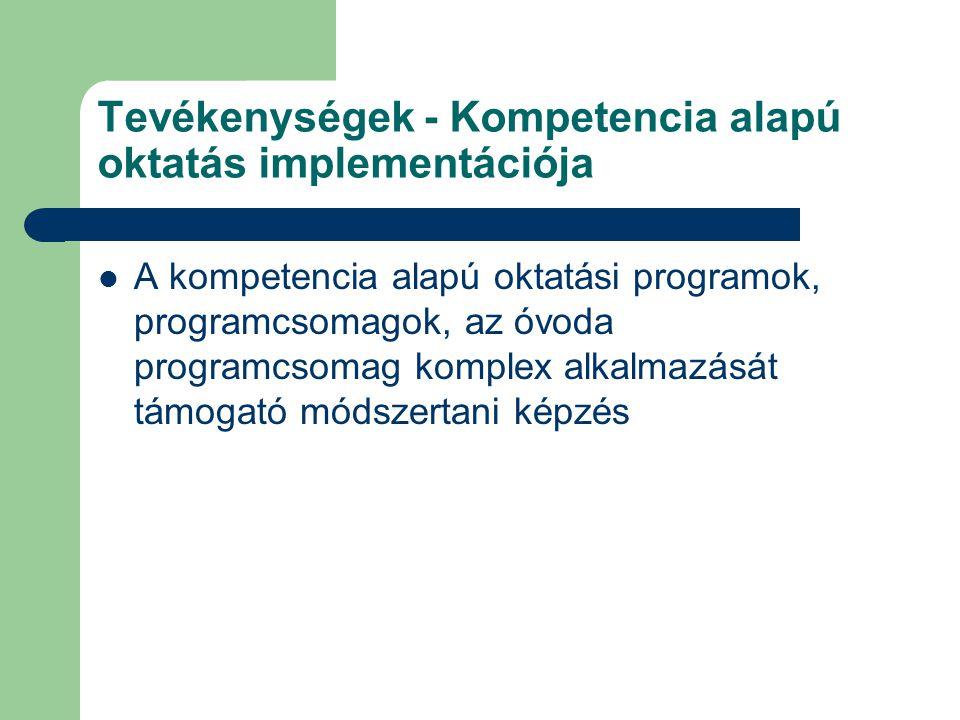 Tevékenységek - Kompetencia alapú oktatás implementációja A kompetencia alapú oktatási programok, programcsomagok, az óvoda programcsomag komplex alka