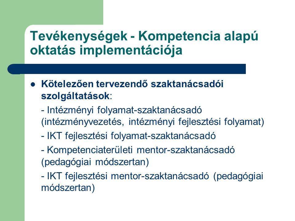 Tevékenységek - Kompetencia alapú oktatás implementációja Kötelezően tervezendő szaktanácsadói szolgáltatások: - Intézményi folyamat-szaktanácsadó (in