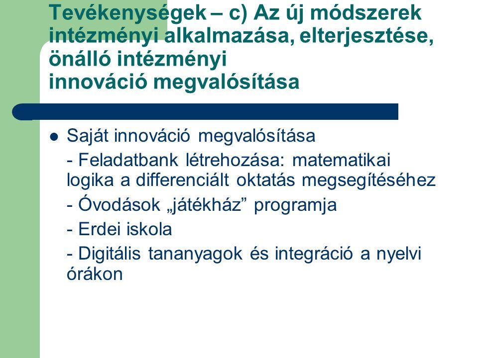 Tevékenységek – c) Az új módszerek intézményi alkalmazása, elterjesztése, önálló intézményi innováció megvalósítása Saját innováció megvalósítása - Fe