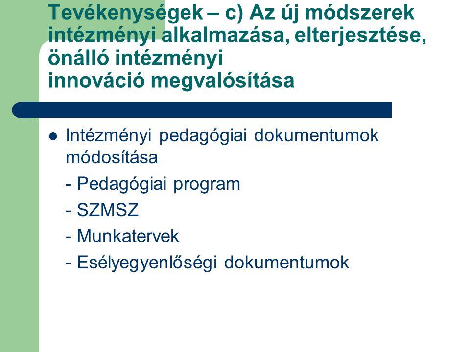 Tevékenységek – c) Az új módszerek intézményi alkalmazása, elterjesztése, önálló intézményi innováció megvalósítása Intézményi pedagógiai dokumentumok