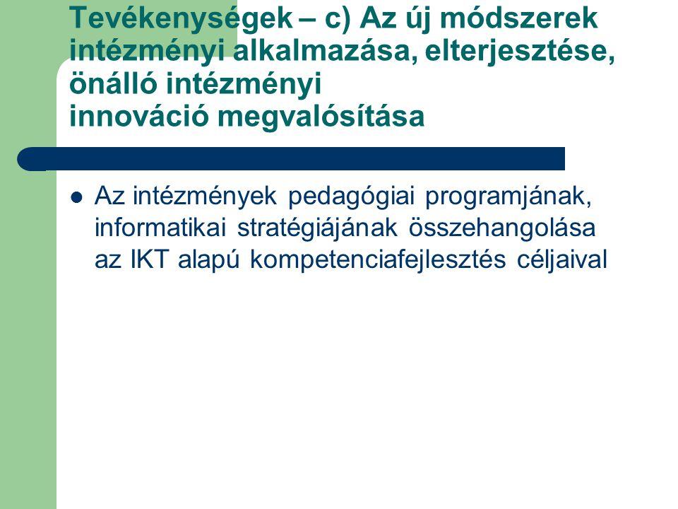 Tevékenységek – c) Az új módszerek intézményi alkalmazása, elterjesztése, önálló intézményi innováció megvalósítása Az intézmények pedagógiai programj
