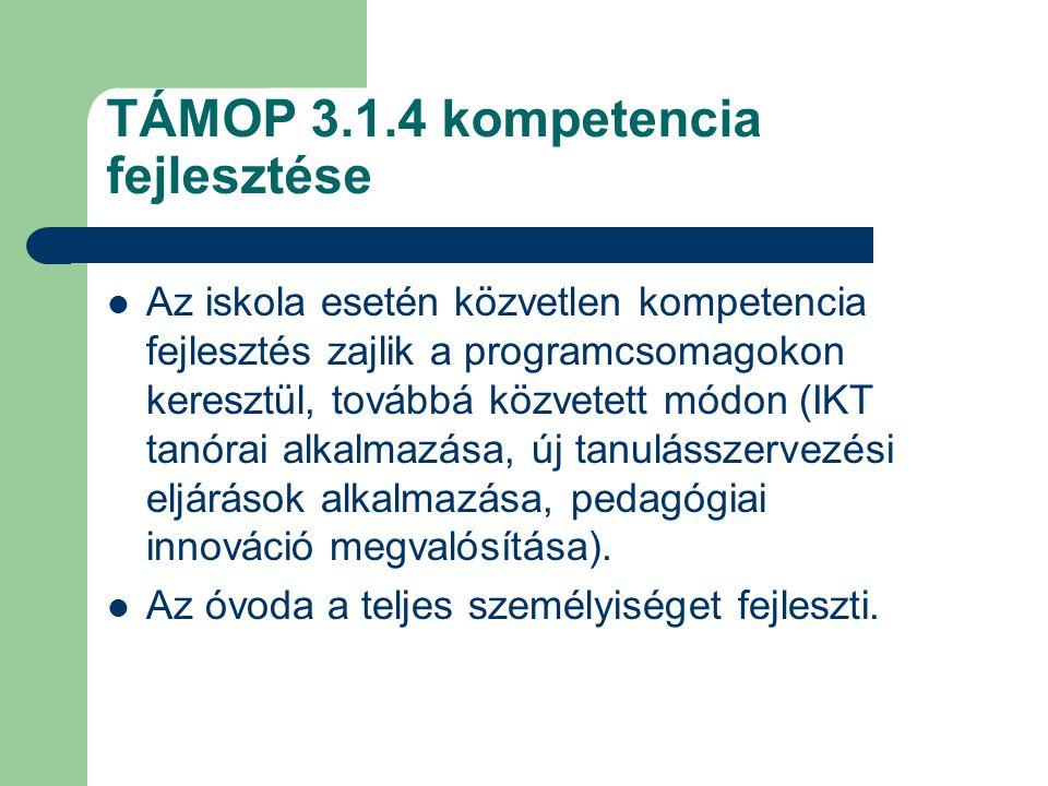 TÁMOP 3.1.4 kompetencia fejlesztése Az iskola esetén közvetlen kompetencia fejlesztés zajlik a programcsomagokon keresztül, továbbá közvetett módon (I