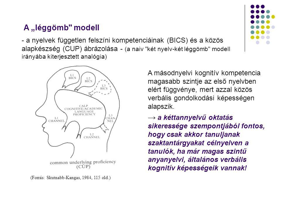 (Forrás: Skutnabb-Kangas, 1984, 115 old.) A másodnyelvi kognitív kompetencia magasabb szintje az első nyelvben elért függvénye, mert azzal közös verbá