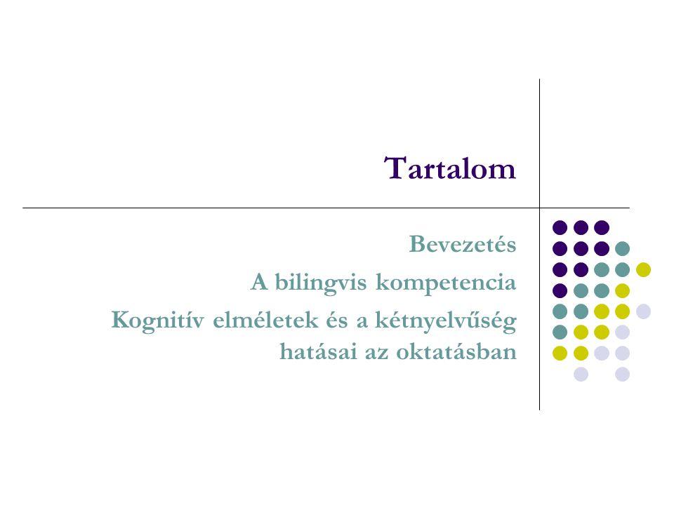 Tartalom Bevezetés A bilingvis kompetencia Kognitív elméletek és a kétnyelvűség hatásai az oktatásban