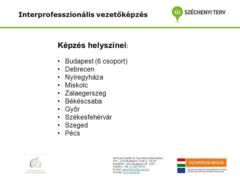 Interprofesszionális vezetőképzés Nemzeti Csal á d- é s Szoci á lpolitikai Int é zet C í m: 1134 Budapest, T ü z é r u. 33-35. Postafiók: 1381 Budapes