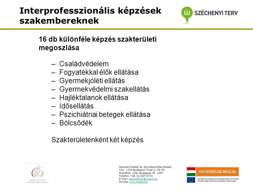 Interprofesszionális képzések szakembereknek Nemzeti Csal á d- é s Szoci á lpolitikai Int é zet C í m: 1134 Budapest, T ü z é r u.