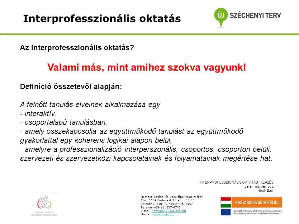 Interprofesszionális oktatás Nemzeti Csal á d- é s Szoci á lpolitikai Int é zet C í m: 1134 Budapest, T ü z é r u.