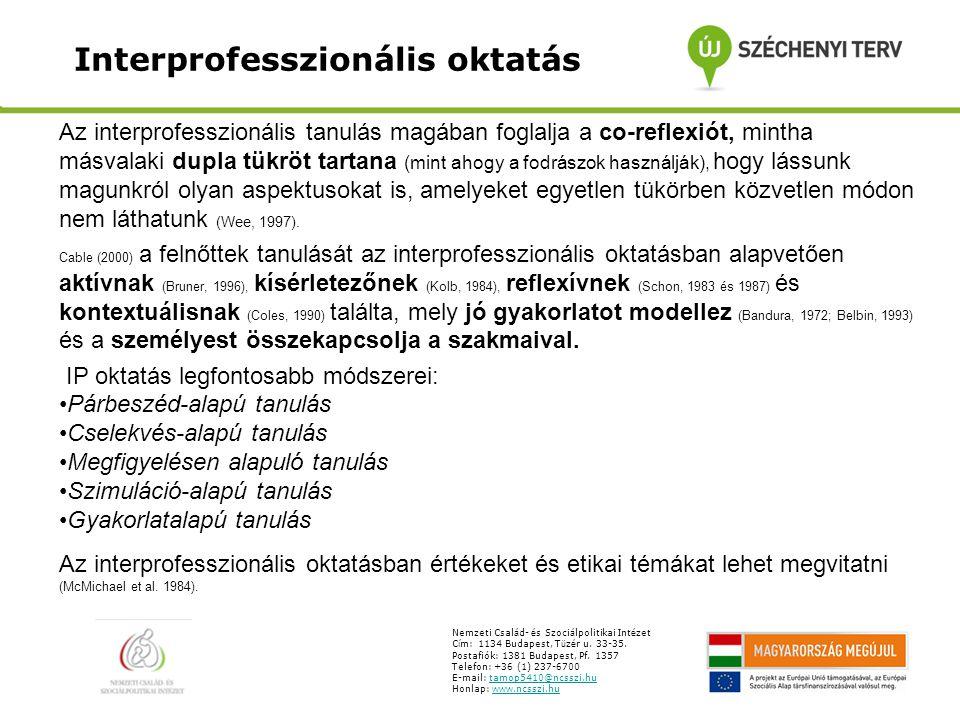 Interprofesszionális oktatás Nemzeti Csal á d- é s Szoci á lpolitikai Int é zet C í m: 1134 Budapest, T ü z é r u. 33-35. Postafiók: 1381 Budapest, Pf