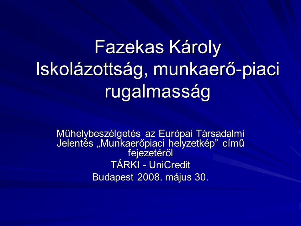 """Fazekas Károly Iskolázottság, munkaerő-piaci rugalmasság Műhelybeszélgetés az Európai Társadalmi Jelentés """"Munkaerőpiaci helyzetkép"""" című fejezetéről"""
