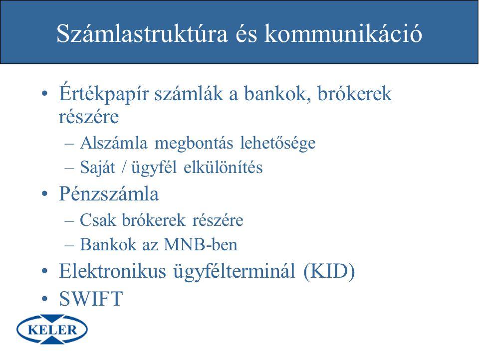 Számlastruktúra és kommunikáció Értékpapír számlák a bankok, brókerek részére –Alszámla megbontás lehetősége –Saját / ügyfél elkülönítés Pénzszámla –C