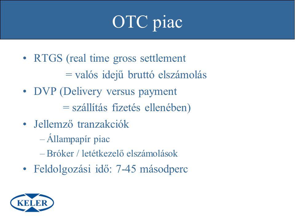 RTGS (real time gross settlement = valós idejű bruttó elszámolás DVP (Delivery versus payment = szállítás fizetés ellenében) Jellemző tranzakciók –Áll