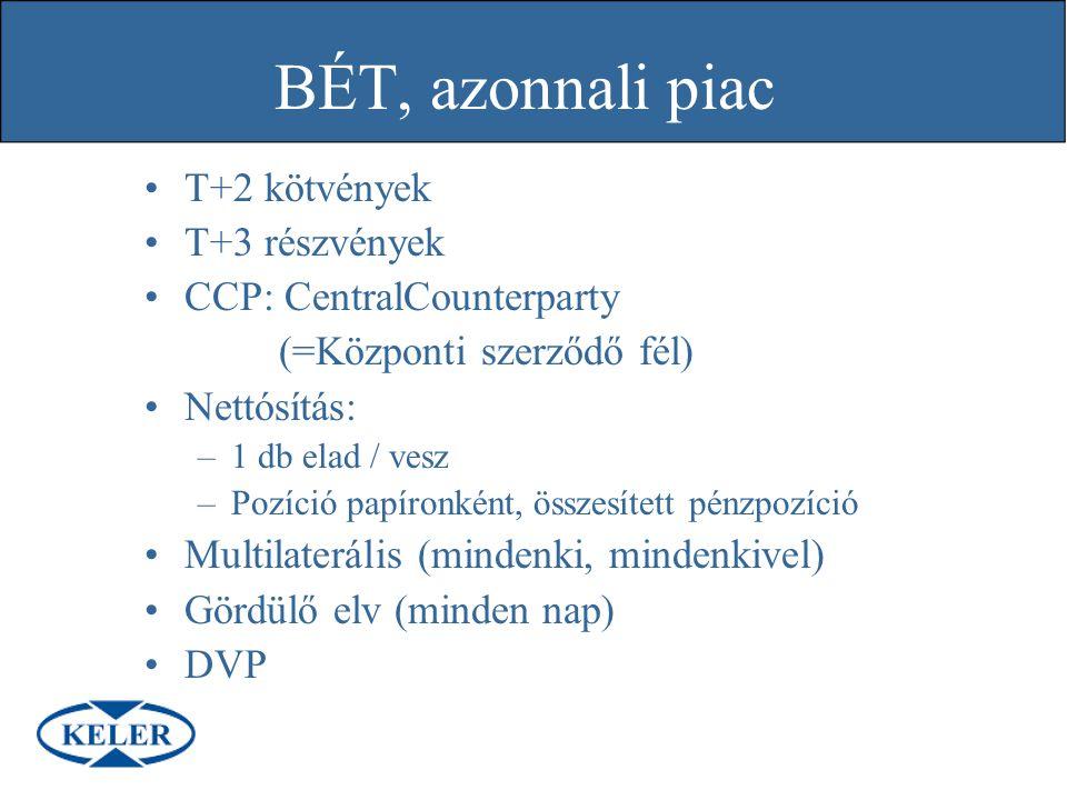 BÉT, azonnali piac T+2 kötvények T+3 részvények CCP: CentralCounterparty (=Központi szerződő fél) Nettósítás: –1 db elad / vesz –Pozíció papíronként,