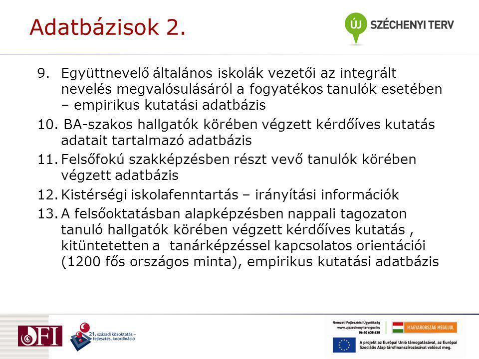 Javaslat a nemzeti oktatási innovációs rendszer fejlesztésének stratégiájára – Vezetői összefoglaló Ajánlások a minőségi iskolai infrastruktúra kialakításához Tankönyvpolitika Magyarországon összefoglaló áttekintés és oktatáspolitikai ajánlások A 18 éves tankötelezettség teljesítésének alternatívái A TISZK rendszer továbbfejlesztésének lehetséges módja Pályakövetés a szakképzésben Az óvodáztatás meghosszabbodásáról Az oktatási célú IKT használat fejlesztéspolitikájának differenciálása A nemzeti alaptanterv implementációjáról Ajánlások a pedagógusképzés fejlesztéséhez Az idegennyelv-oktatásról Regionális tervezés és közoktatás A kistérségi közoktatás-szervezés tapasztalatai Policy-javaslatok
