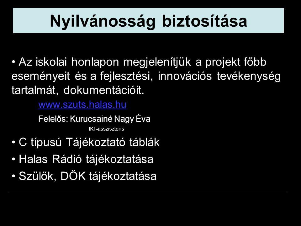 Az iskolai honlapon megjelenítjük a projekt főbb eseményeit és a fejlesztési, innovációs tevékenység tartalmát, dokumentációit. www.szuts.halas.hu Fel