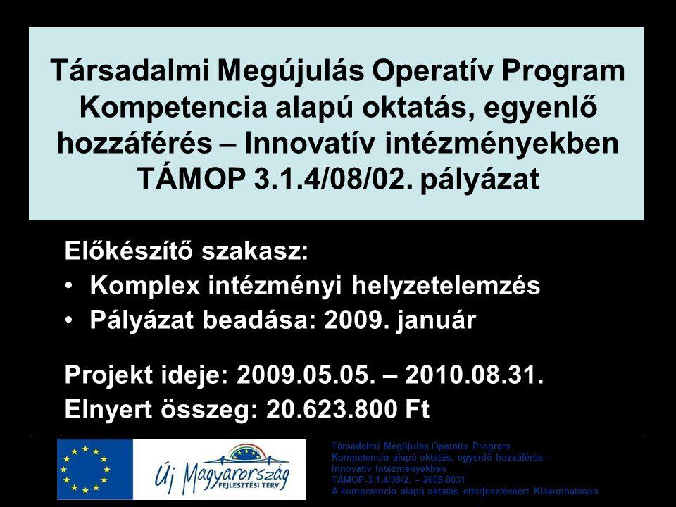 Társadalmi Megújulás Operatív Program Kompetencia alapú oktatás, egyenlő hozzáférés – Innovatív intézményekben TÁMOP 3.1.4/08/02.