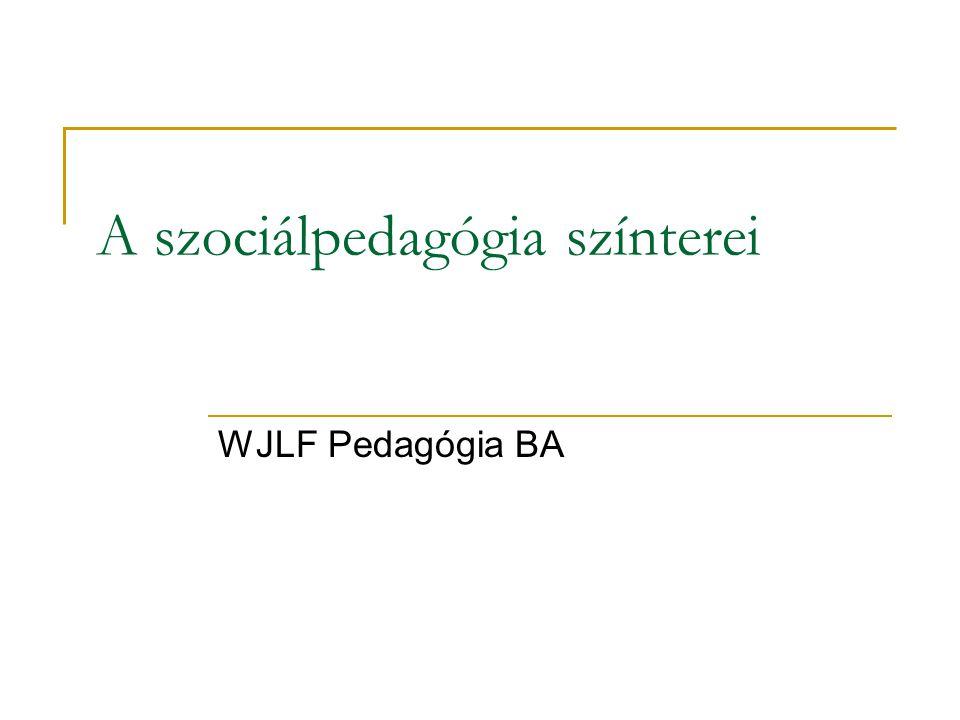 A szociálpedagógia színterei WJLF Pedagógia BA