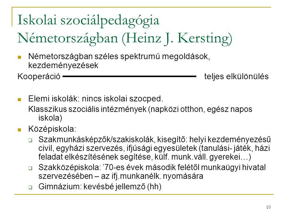 10 Iskolai szociálpedagógia Németországban (Heinz J. Kersting) Németországban széles spektrumú megoldások, kezdeményezések Kooperáció teljes elkülönül