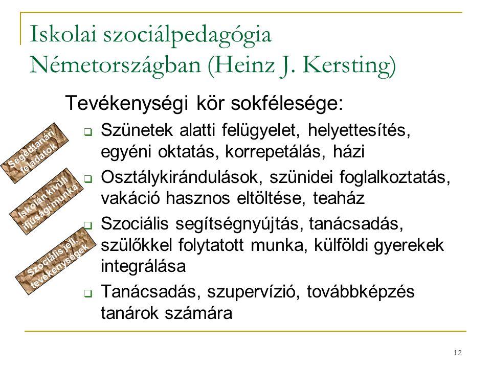 12 Iskolai szociálpedagógia Németországban (Heinz J. Kersting) Tevékenységi kör sokfélesége:  Szünetek alatti felügyelet, helyettesítés, egyéni oktat