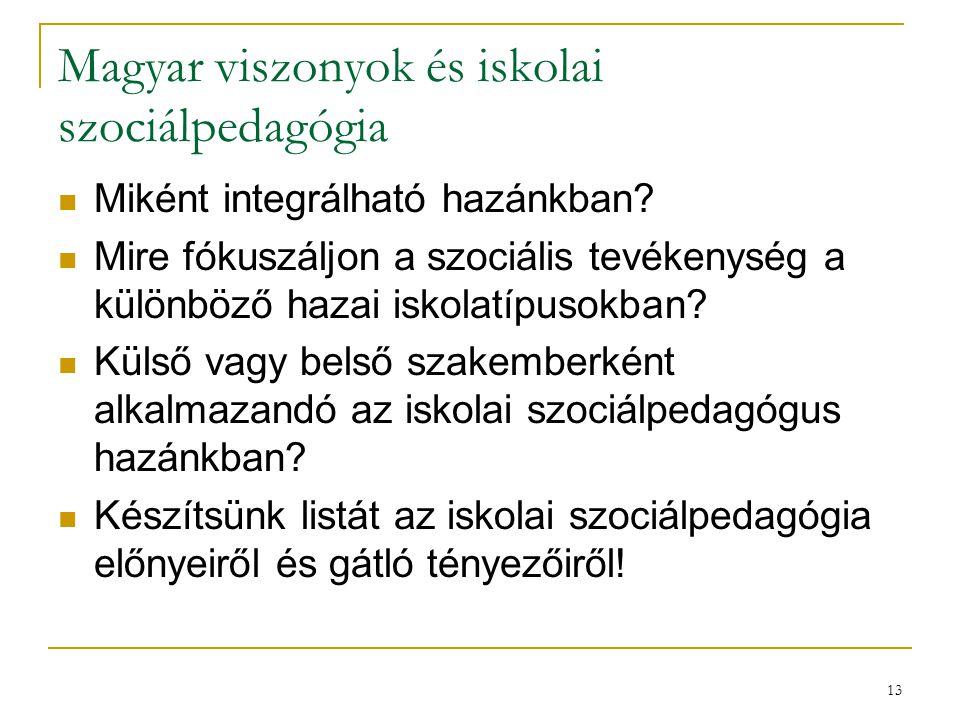 13 Magyar viszonyok és iskolai szociálpedagógia Miként integrálható hazánkban? Mire fókuszáljon a szociális tevékenység a különböző hazai iskolatípuso