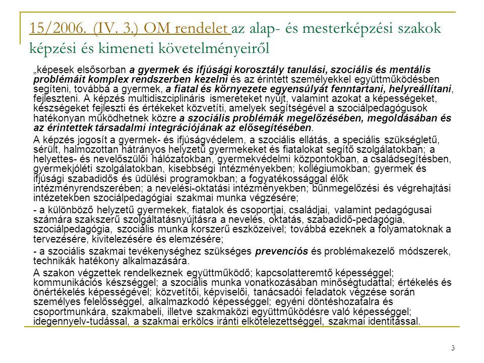 """3 15/2006. (IV. 3.) OM rendelet 15/2006. (IV. 3.) OM rendelet az alap- és mesterképzési szakok képzési és kimeneti követelményeiről """"képesek elsősorba"""
