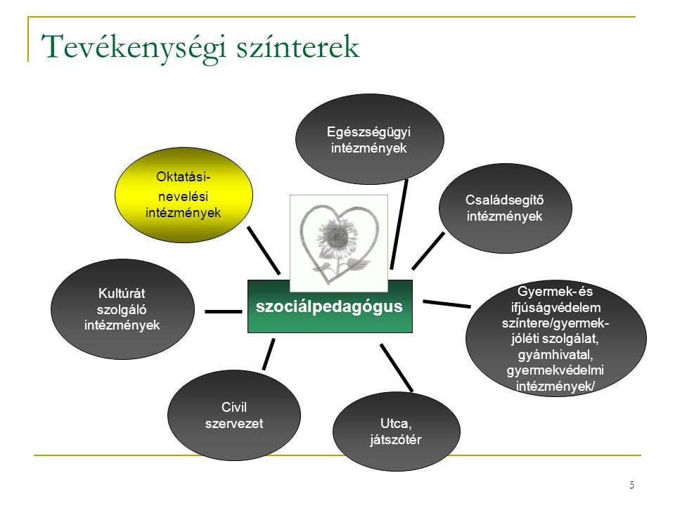 5 Tevékenységi színterek szociálpedagógus Gyermek- és ifjúságvédelem színtere/gyermek- jóléti szolgálat, gyámhivatal, gyermekvédelmi intézmények/ Okta