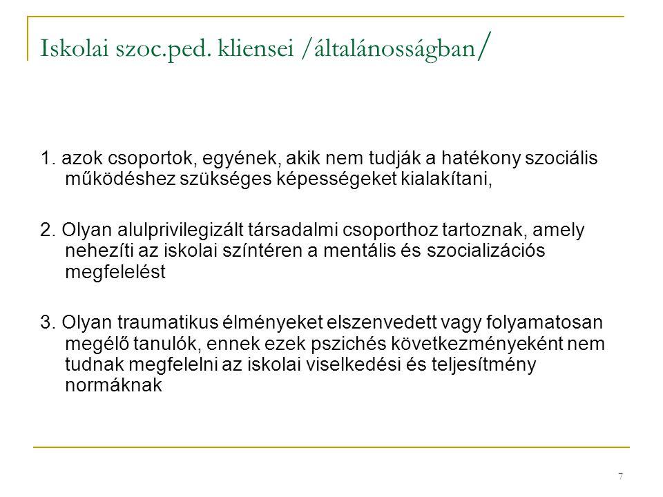 7 Iskolai szoc.ped. kliensei /általánosságban / 1. azok csoportok, egyének, akik nem tudják a hatékony szociális működéshez szükséges képességeket kia