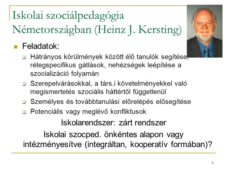 9 Iskolai szociálpedagógia Németországban (Heinz J. Kersting) Feladatok:  Hátrányos körülmények között élő tanulók segítése, rétegspecifikus gátlások
