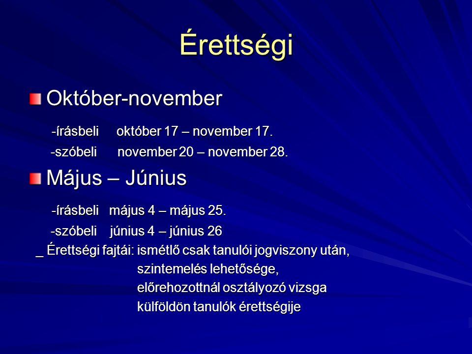 Érettségi Október-november -írásbeli október 17 – november 17.