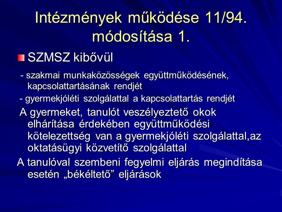 Intézmények működése 11/94. módosítása 1.
