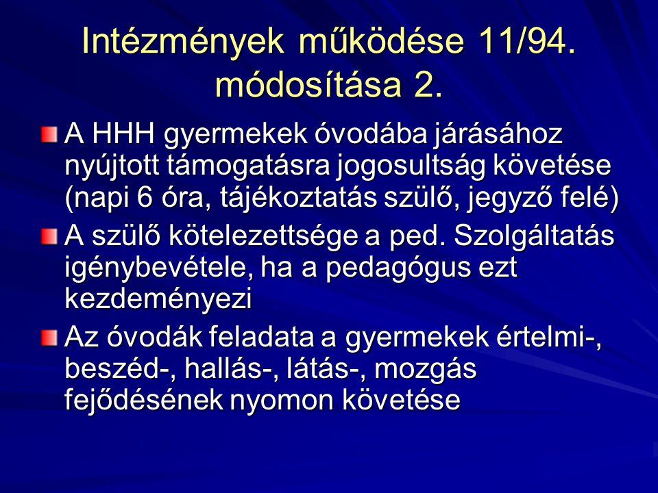 Intézmények működése 11/94. módosítása 2.
