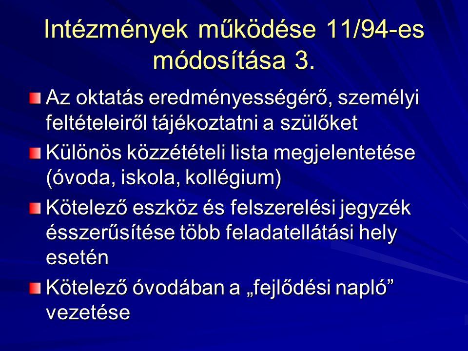 Intézmények működése 11/94-es módosítása 3.