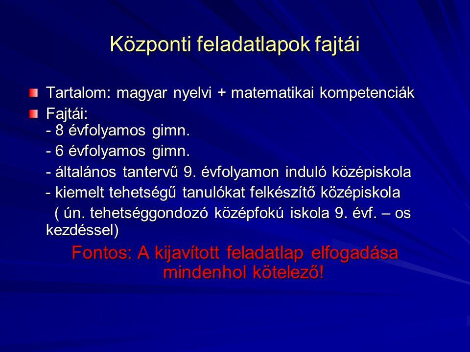Központi feladatlapok fajtái Tartalom: magyar nyelvi + matematikai kompetenciák Fajtái: - 8 évfolyamos gimn.