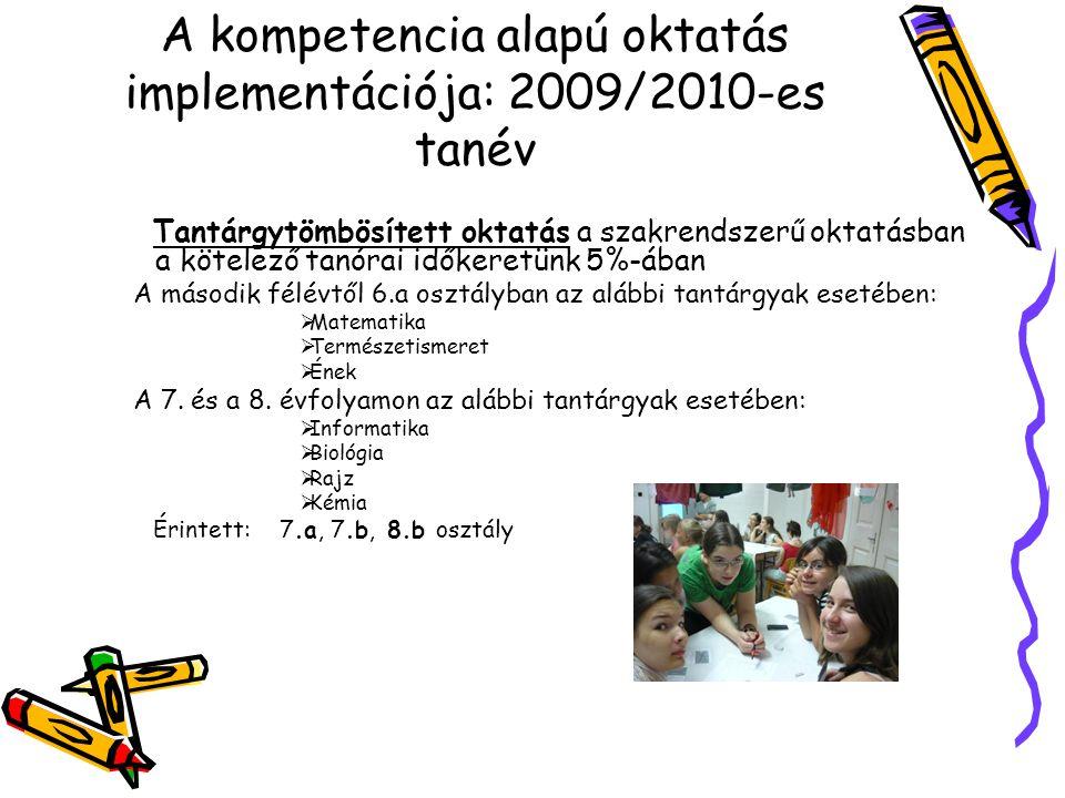 Tantárgytömbösített oktatás a szakrendszerű oktatásban a kötelező tanórai időkeretünk 5%-ában A második félévtől 6.a osztályban az alábbi tantárgyak esetében:  Matematika  Természetismeret  Ének A 7.