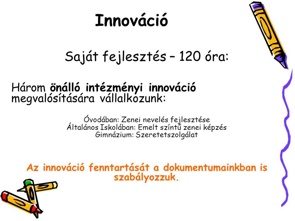 Saját fejlesztés – 120 óra: Három önálló intézményi innováció megvalósítására vállalkozunk: Óvodában: Zenei nevelés fejlesztése Általános Iskolában: E