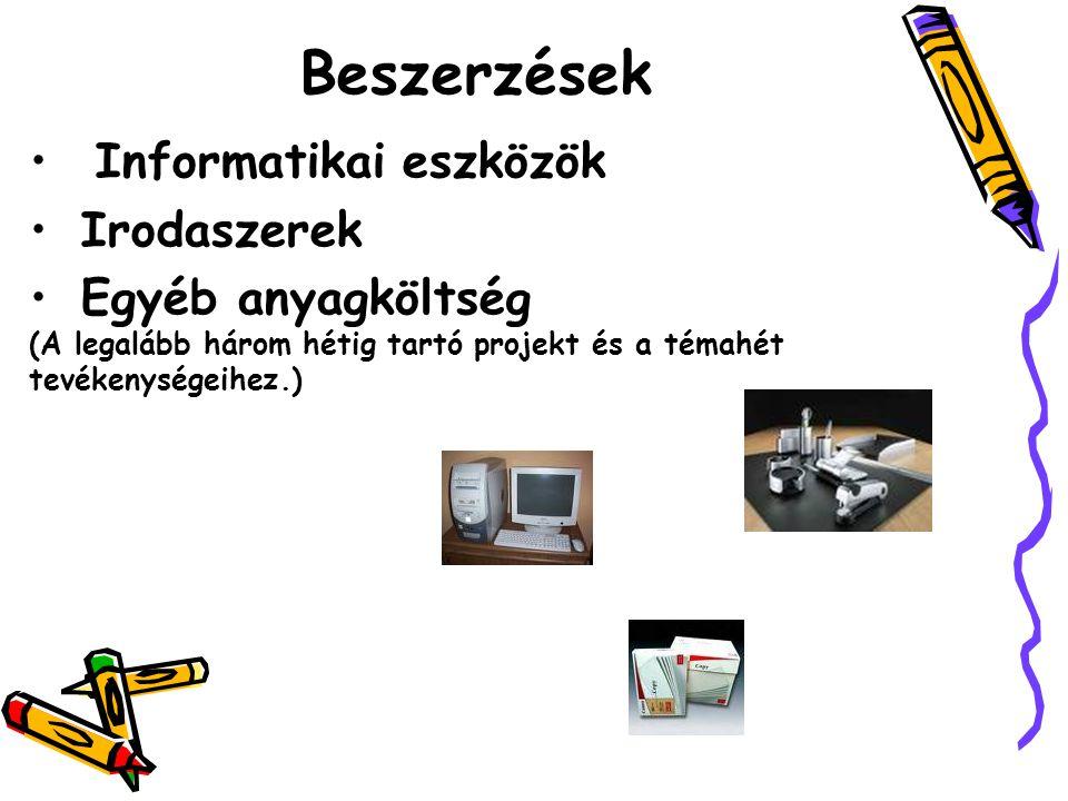 Informatikai eszközök Irodaszerek Egyéb anyagköltség (A legalább három hétig tartó projekt és a témahét tevékenységeihez.) Beszerzések
