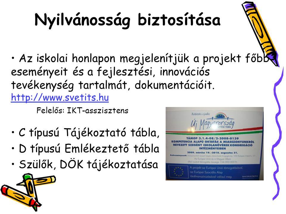 Az iskolai honlapon megjelenítjük a projekt főbb eseményeit és a fejlesztési, innovációs tevékenység tartalmát, dokumentációit. http://www.svetits.hu