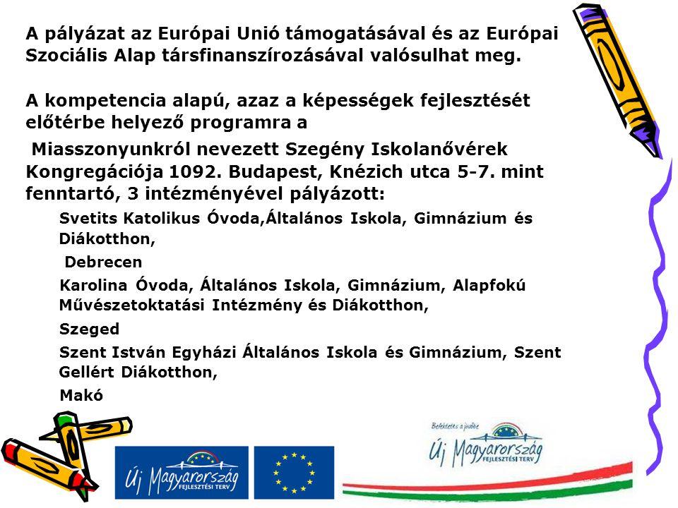 A pályázat az Európai Unió támogatásával és az Európai Szociális Alap társfinanszírozásával valósulhat meg. A kompetencia alapú, azaz a képességek fej