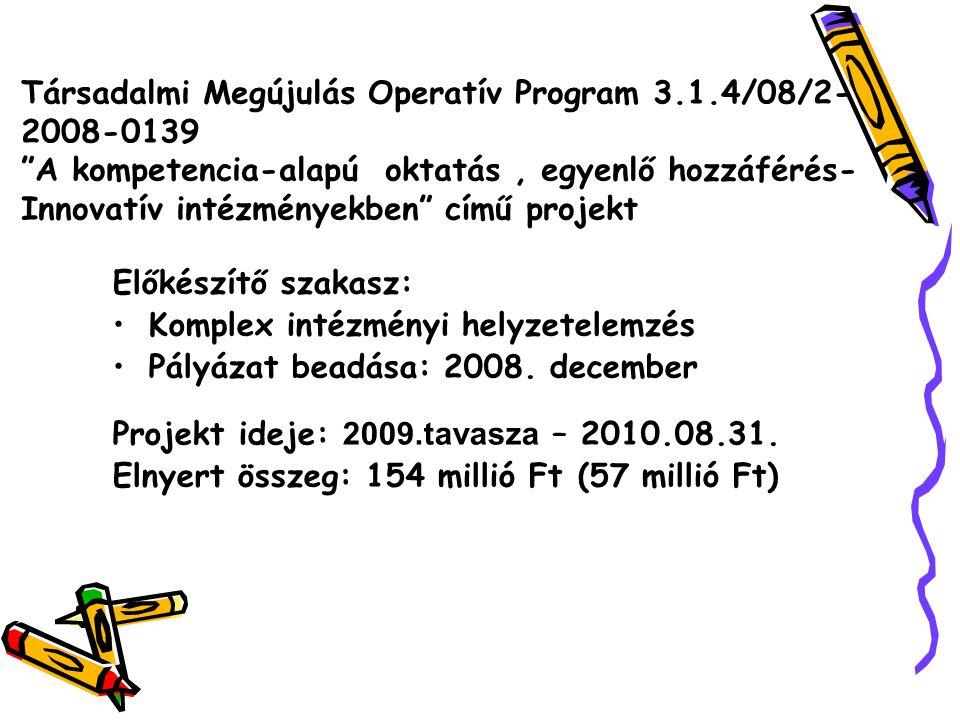 Társadalmi Megújulás Operatív Program 3.1.4/08/2- 2008-0139 A kompetencia-alapú oktatás, egyenlő hozzáférés- Innovatív intézményekben című projekt Előkészítő szakasz: Komplex intézményi helyzetelemzés Pályázat beadása: 2008.