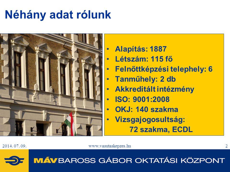 2014. 07. 09.www.vasutaskepzes.hu2 Néhány adat rólunk Alapítás: 1887 Létszám: 115 fő Felnőttképzési telephely: 6 Tanműhely: 2 db Akkreditált intézmény