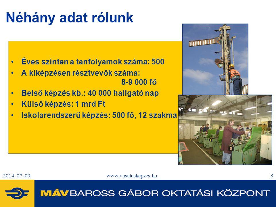 2014. 07. 09.www.vasutaskepzes.hu3 Néhány adat rólunk Éves szinten a tanfolyamok száma: 500 A kiképzésen résztvevők száma: 8-9 000 fő Belső képzés kb.