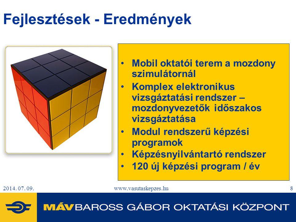 2014. 07. 09.www.vasutaskepzes.hu8 Fejlesztések - Eredmények Mobil oktatói terem a mozdony szimulátornál Komplex elektronikus vizsgáztatási rendszer –