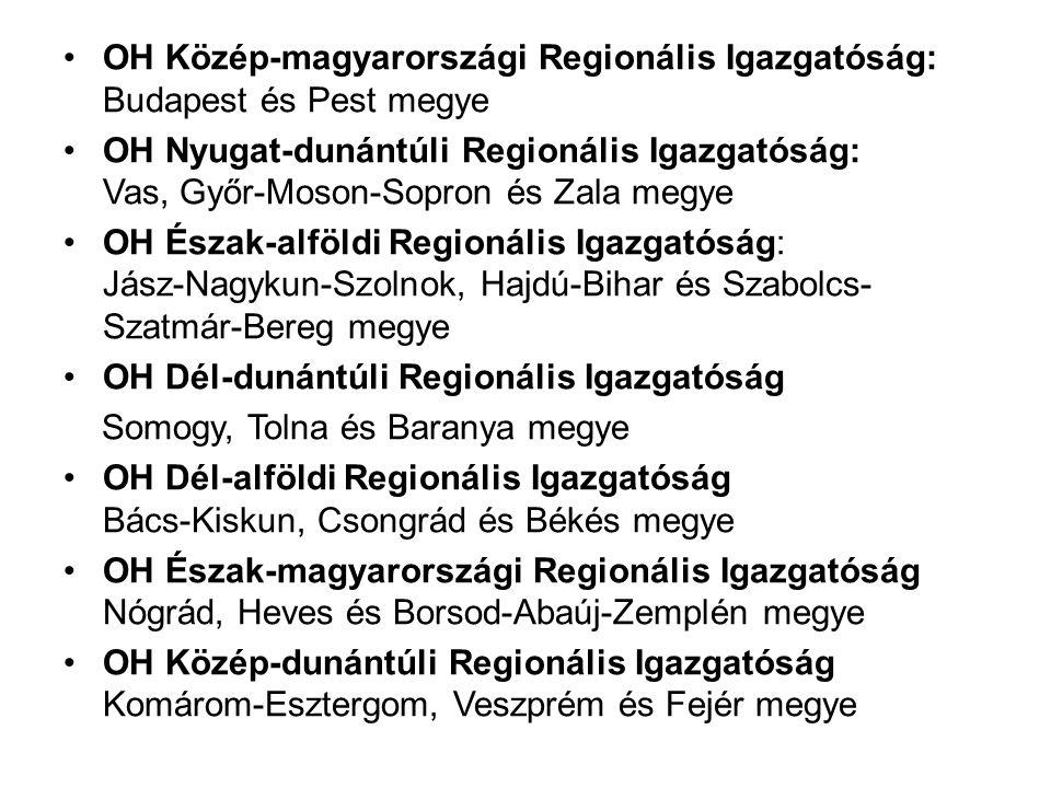 OH Közép-magyarországi Regionális Igazgatóság: Budapest és Pest megye OH Nyugat-dunántúli Regionális Igazgatóság: Vas, Győr-Moson-Sopron és Zala megye