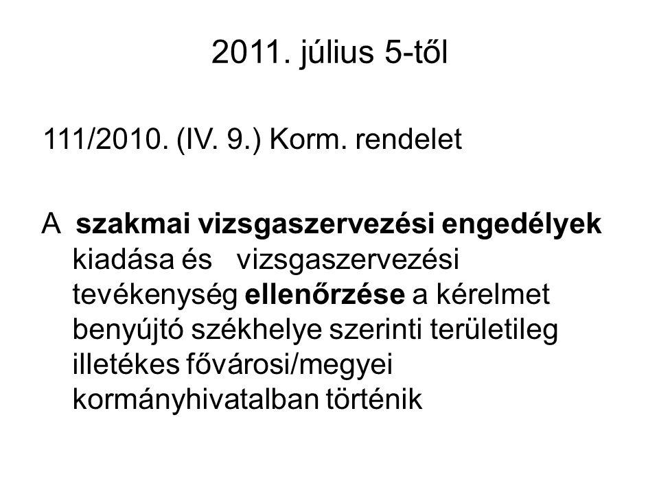 2011. július 5-től 111/2010. (IV. 9.) Korm. rendelet A szakmai vizsgaszervezési engedélyek kiadása és vizsgaszervezési tevékenység ellenőrzése a kérel