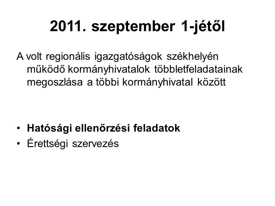 2011. szeptember 1-jétől A volt regionális igazgatóságok székhelyén működő kormányhivatalok többletfeladatainak megoszlása a többi kormányhivatal közö