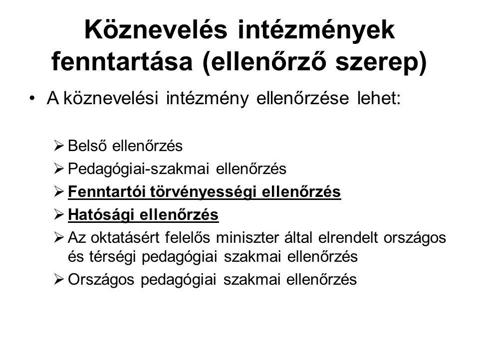 Köznevelés intézmények fenntartása (ellenőrző szerep) A köznevelési intézmény ellenőrzése lehet:  Belső ellenőrzés  Pedagógiai-szakmai ellenőrzés 