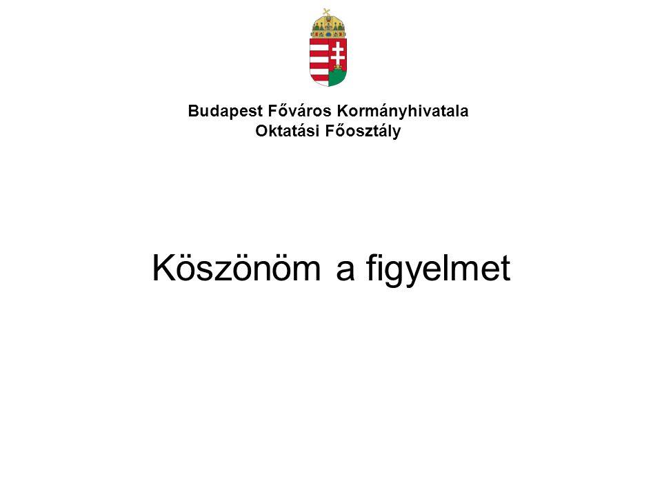 Köszönöm a figyelmet Budapest Főváros Kormányhivatala Oktatási Főosztály
